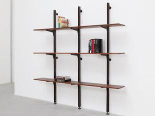 black rack and pinion shelves galerie patrick seguin. Black Bedroom Furniture Sets. Home Design Ideas