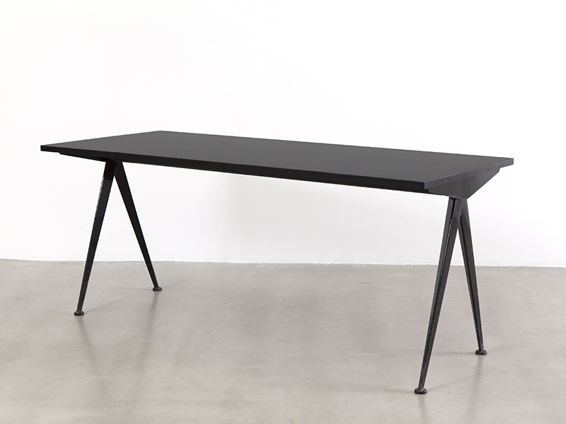 jean prouv black compas table 1953 galerie patrick seguin. Black Bedroom Furniture Sets. Home Design Ideas