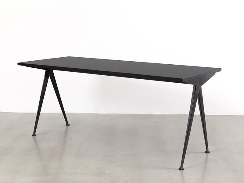 jean prouv table compas noire ca 1953 galerie patrick seguin. Black Bedroom Furniture Sets. Home Design Ideas